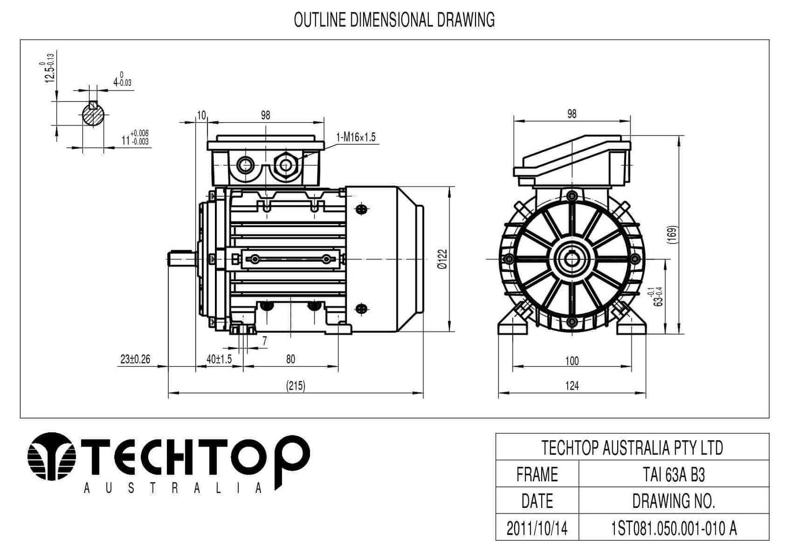 TechTop 0.18 kW Motor 415V 3 Phase 4 Pole, 1275 RPM, Foot