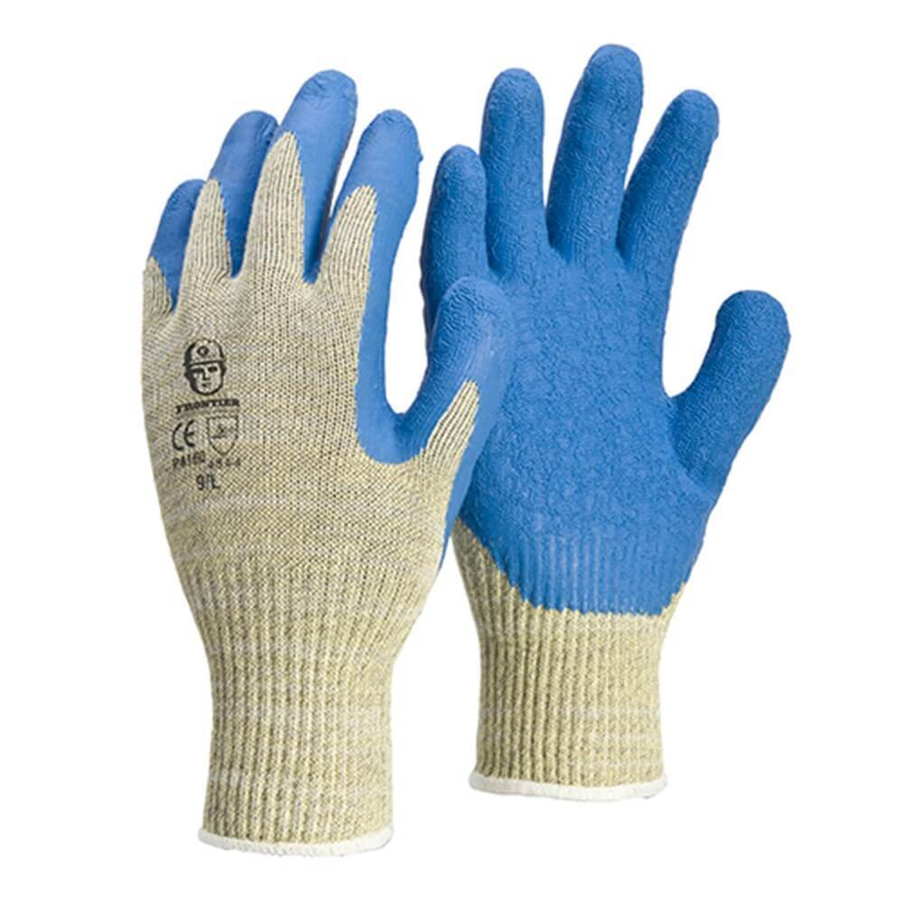 Frontier Safeguard Cut 5 Aramid Gloves, Blue/Beige, Large - Pack of 12