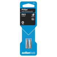 Sutton Screwdriver Bit S104 #1 x 25 Phillips Insert Carded 2 Pack CRV