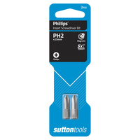Sutton Screwdriver Bit S104 #2 x 25 Phillips Insert Carded 2 Pack CRV