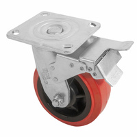 150mm Swivel Plate Castor with Brake - Urethane Wheel, Red