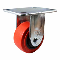 100mm Fixed Plate Castor - Urethane Wheel, Red