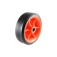"95mm Rubber Tyre for Wet Surface - 5/16"" Plain Bearing, Red"