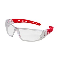 Mack Chronos Safety Glasses with Red Arm, Clear Lens