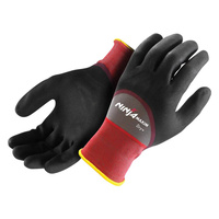 Ninja Maxim Dry+ Oil Repellent Grip Glove, Black/Purple, Large - Pack of 12 Pairs
