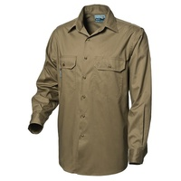 WS Workwear Mens Button-Up Drill Shirt Khaki, Size XS
