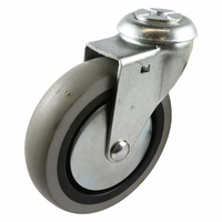 Swivel Bolt Hole Castor - Rubber Wheel, Grey